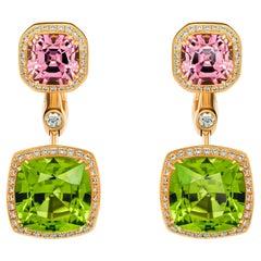 Green Peridots & Pink Spinels Earrings, 18k Yellow Gold Diamonds Earrings