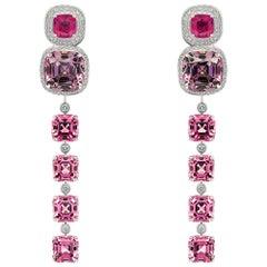 Rubies & Spinels Transformer Earrings, 18k White Gold Diamonds Rubies & Spinels