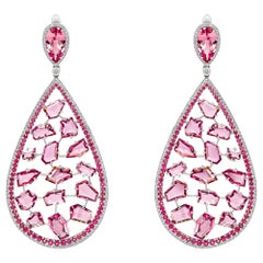 Pink & Red Spinels Earrings, 18k White Gold Pink&Red Spinels Diamonds Earrings