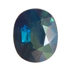 IGI Certified Australian 1.17ct Untreated Green Blue Teal Sapphire Cushion Cut