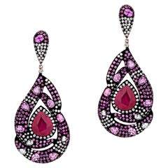 Ruby and Pink Sapphire Victorian Dangle Earrings with Diamonds