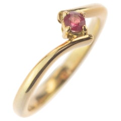 Intini Jewels Natural Ruby 18 Karat Yellow Gold Contrarie Modern Red Stone Ring