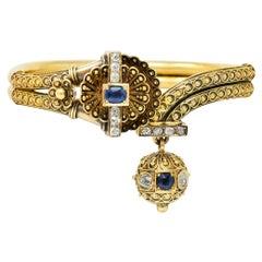 Victorian Etruscan Revival Sapphire Diamond 14 Karat Yellow Gold Cuff Bracelet