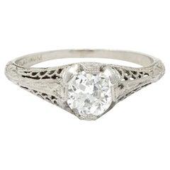 1915 Edwardian 0.63 Carats Diamond Platinum Filigree Engagement Ring