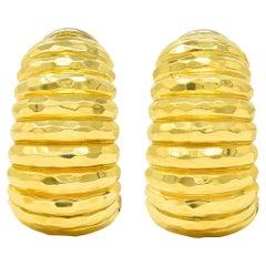 Henry Dunay 18 Karat Yellow Gold Hammered J Hoop Ear-Clip Earrings