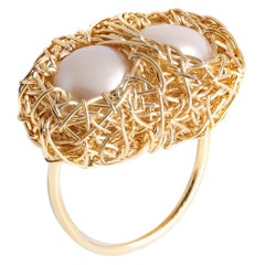 Two Round Pearls in 14 Karat Yellow Gold Filled Woven Pinky Ring by the Artist