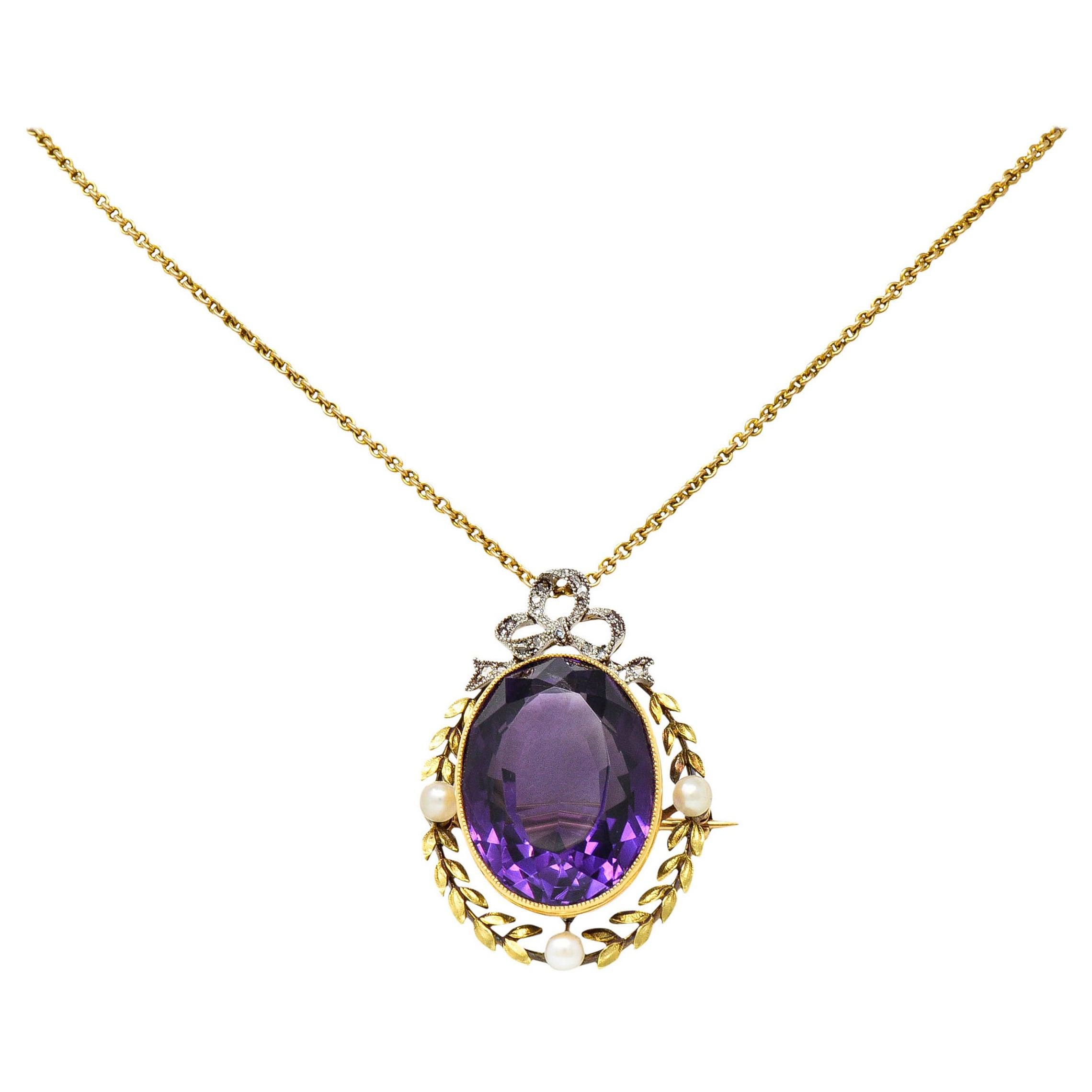 Edwardian Amethyst Diamond Pearl 14 Karat Gold Silver Laurel Pendant Necklace