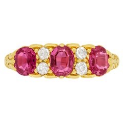 Victorian 1.40ct Pink Sapphire and Diamond Three Stone Ring, c.1903