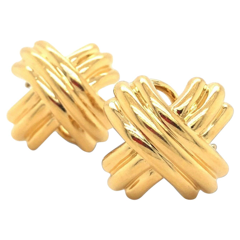 Tiffany & Co. Signature X Clip Earrings 18K Yellow Gold Medium Size