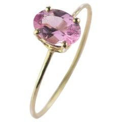 Intini Jewels Pink Oval Tourmaline 14 Karat Yellow Gold Cocktail Handmade Ring