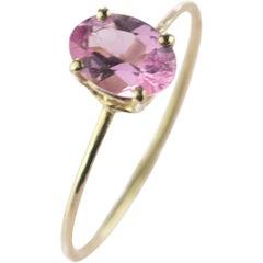Intini Jewels Pink Oval Tourmaline 9 Karat Yellow Gold Cocktail Handmade Ring