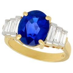 Vintage 4.59 Carat Oval Cut Sapphire and 1.02 Carat Diamond Yellow Gold Ring