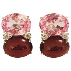 Grande GUM DROP™ Earrings with Pink Topaz and Cabochon Garnet and Diamonds