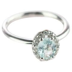 Intini Jewels Tourmaline Paraiba Diamond 18 Karat White Gold Oval Handmade Ring