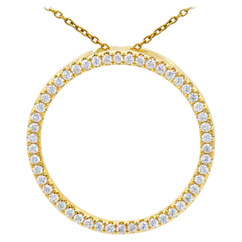 14K Yellow Gold Circle Diamond Pendant