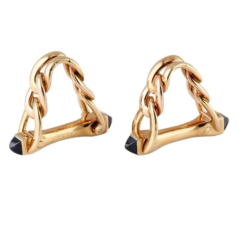 Cartier Sapphire Gold Triangular Link Cufflinks For Sale