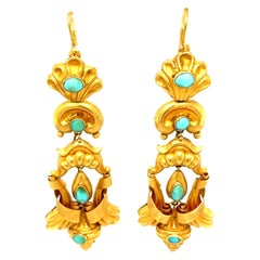 Antique Georgian 15 Karat Gold Turquoise Pendant Earrings