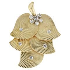 Cartier Reto-Modern Diamond Leaf Clip Brooch