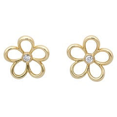 Tiffany & Co. Diamond 18 Karat Gold Open Flower Earrings
