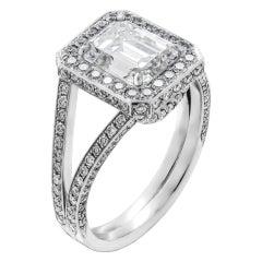 GIA Certified 2.01 Carat Emerald Cut Diamond Engagement Ring