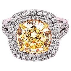 GIA Certified 3.53 Carat Round Diamond Engagement Ring