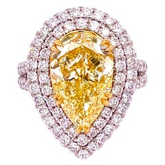 GIA Certified 6.02 Carat Pear Shape Diamond Engagement Ring