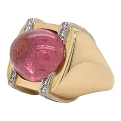 Pink Tourmaline & Diamond Ring in 14k Yellow & White Gold