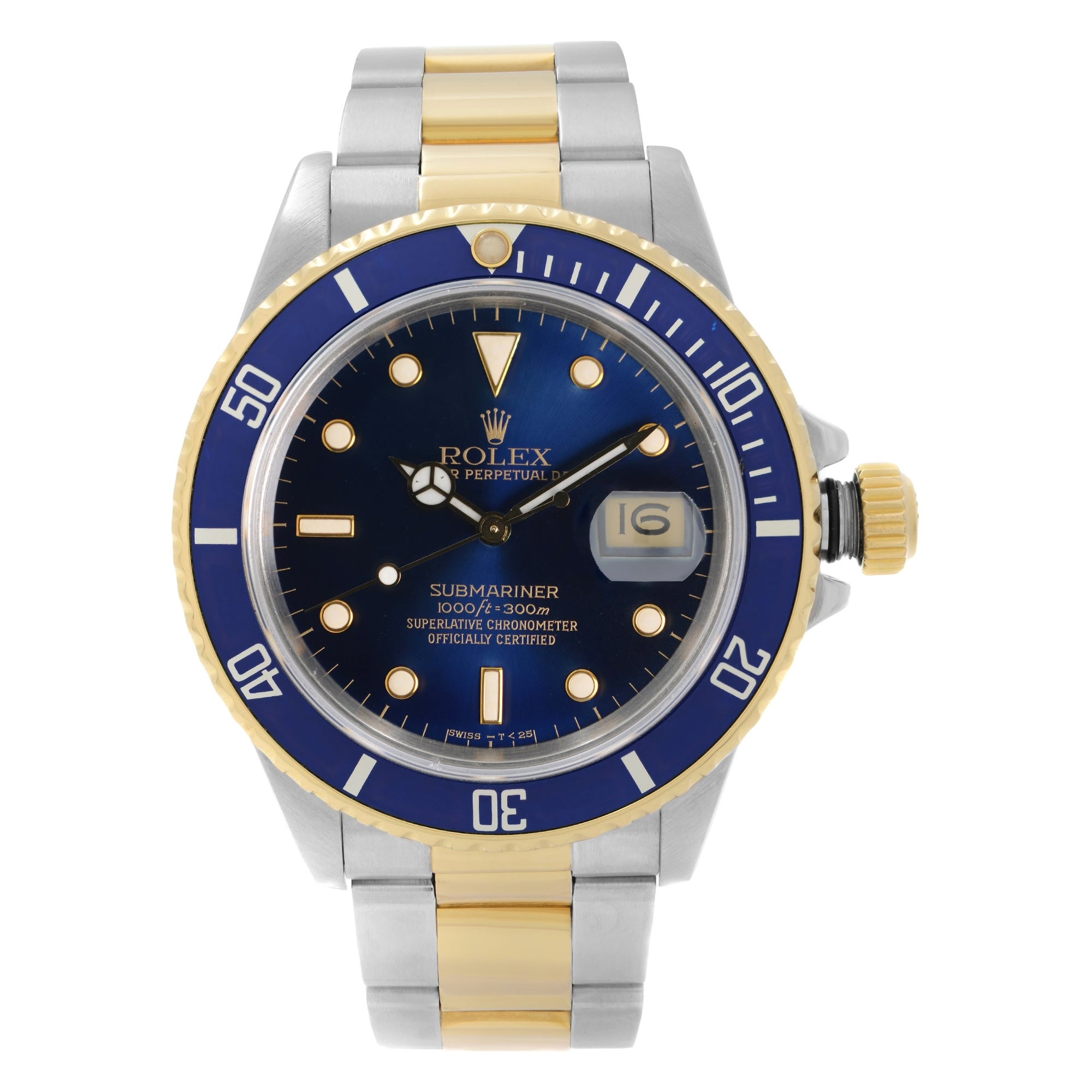 Rolex Submariner 18k Yellow Gold Steel Blue Dial Automatic Mens Watch 16803