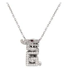 Cartier Baiser Du Dragon Diamond Ruby 18K White Gold Pendant Necklace