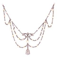 Antique Edwardian Diamond Seed Pearl Platinum Bib Necklace Estate Fine Jewelry