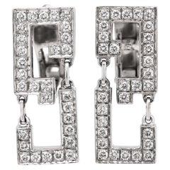 Cartier Baiser Du Dragon 18 Karat White Gold Diamond Dangle Earrings