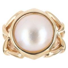 Vintage Mabe Pearl & Gold Ring 14K