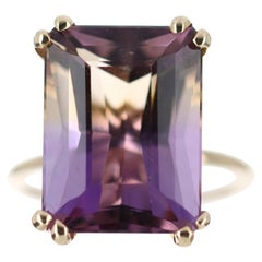 12.44ct 14K Emerald Cut Ametrine Solitaire Gold Ring
