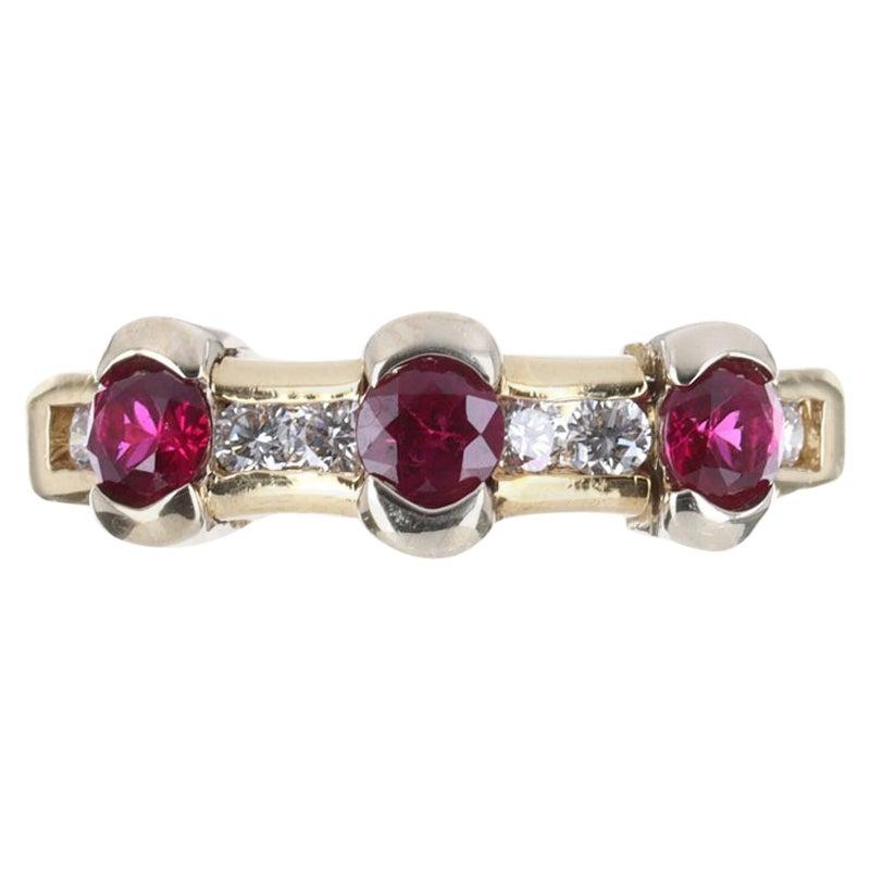 AAA+ 14K Natural Ruby & Diamond Stacking Ring Band
