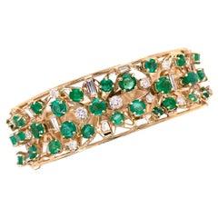 Emerald and Diamond Cuff Bangle Bracelet in 14k Yellow Gold