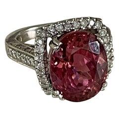 Oval Cut Pink Tourmaline and Brilliant Cut Diamond 14 Karat White Gold Ring