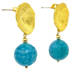 Decadent Jewels Russian Amazonite Faceted Stud Earrings