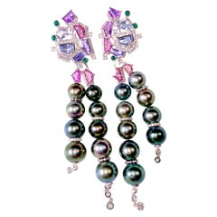 6.32 Ct Sapphire, Tahitian Pearl and Diamond Detachable Earring in 18k Gold