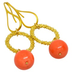 Decadent Jewels Shell Based Pearl Apricot Sphere Gold Plated Earrings