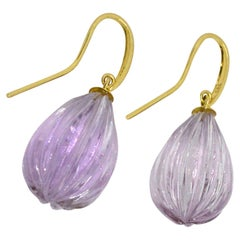 Decadent Jewels Amethyst Carved 14ct Yellow Gold Earrings