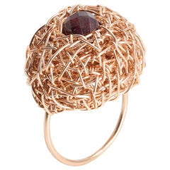 Faceted Garnet in woven 14 Kt Rose Gold Filled One-of-a-Kind Ring by the Artist