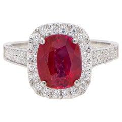AIG Certified Unheated Burma Ruby Ring 2.61 Carat in Diamond Setting 18K Gold