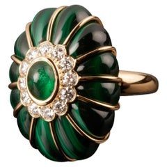 Veschetti 18 Kt Yellow Gold, Malachite, Emerald, Diamonds Cocktail Ring