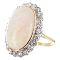 20.0tcw Antique Opal & Diamond Cocktail Ring