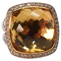 David Yurman Champagne Citrine Diamond Sterling Silver Ring w 18K Yellow Gold