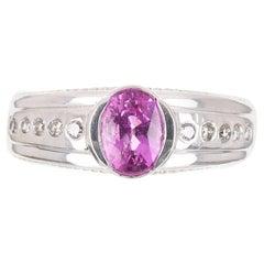 1.20tcw 14K AAA+ Natural Pink Tourmaline & Diamond Ring