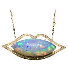 6.9 Carat Opal Diamond Necklace 18 Karat Yellow Gold