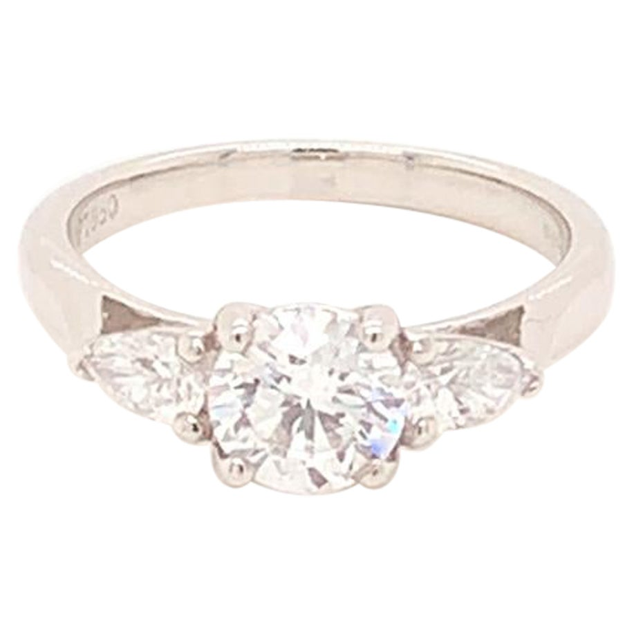 GIA Certified Three-Stone Diamond Ring in Platinum