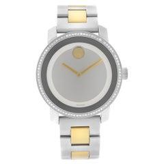 Movado Bold Two-Tone Steel Diamonds Silver Dial Quartz Ladies Watch 3600451