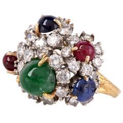 Multi-Gem Diamond Gold Floral Design Ring
